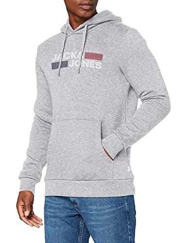 Jack&Jones JJECORP Logo Sweat Hood Noos Sweatshirt à Capuche, Light Grey Melange/Detail:Play-REG, XX-Large Homme
