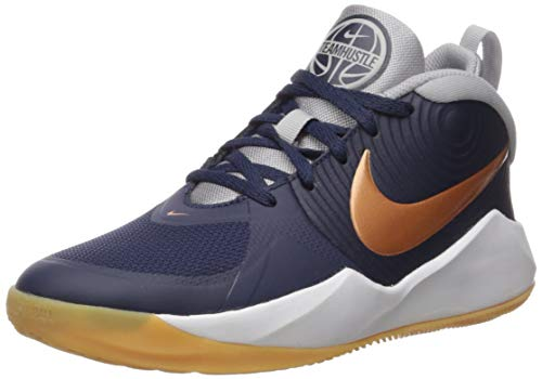 Nike Unisex Team Hustle D 9 Basketballschuhe, Mehrfarbig (Midnight Navy/Metallic Copper/Wolf Grey 402), 37.5 EU