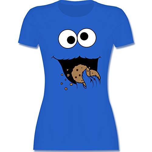 Karneval & Fasching - Keks-Monster - S - Royalblau - Damen Tshirt - L191 - Tailliertes Tshirt für Damen und Frauen T-Shirt