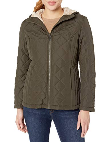HFX Women's Quilted Cozy Sherpa Lined Jacket, Olive, Small