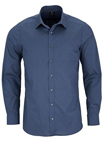 OLYMPHerren Hemd Level 5 Body Fit Langarm, Blau , 42