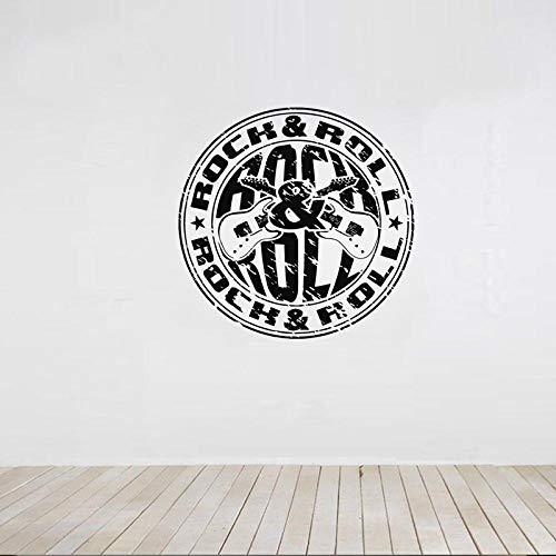 Rock & Roll Stamp Decoración para el hogar Pegatinas de pared para sala de estar Art Wallpaper Decals Dormitorio Murales Sticker Poster-56X56cm