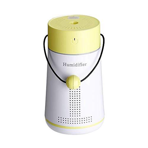 Humidificador USB Multifunción Humidificador + Pequeño Ventilador + Tarjeta de Mensaje Amor + Espejo de Maquillaje + Luz LED Humidificador Mensaje (Color Amarillo)