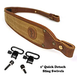 "ORIGINAL POWER Leather Rifle Sling with 1"" Quick Detach Sling Swivels, Padding Canvas Shotgun Sling Gun Straps"