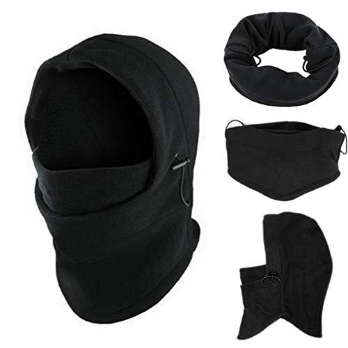 Skxinn 6 in1 Schwarz Gesichtsmaske, Winddichte Vollgesichtsmaske, Verstellbare Skimaske, Motorrad- und Fahrrad Maske, Warme Sturmhaube für Winter Sport und Outdoor, Unisex und Universalgröße