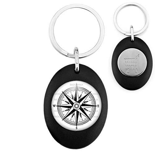 Porte-Clés Noir Ovale Jeton Caddie Compas Boussole 1 - Symbole Marin - Idée Cadeau