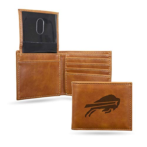 Rico Industries LEBIL3501BR  NFL Buffalo Bills Laser Engraved Billfold Wallet, Brown, 5.75 x 7-inches