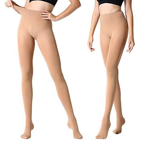 MANZI Damen 2 Paar Control-Top Strumpfhose mit Comfort Stretch 70 Denier,Suntan,L