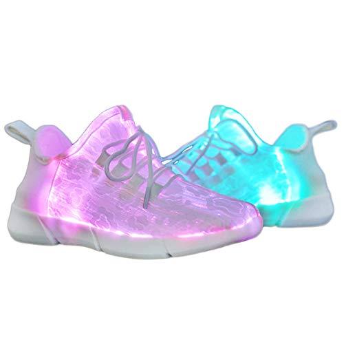 Yeeper LED Zapatillas Texitil de Fibra Óptica de 7 Colores de Luces c