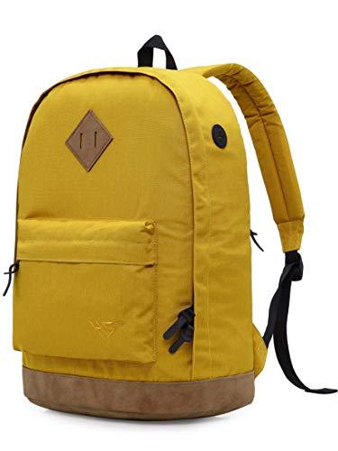 936Plus Wasserabweisender Rucksack Laptop Büchertasche für Schule, Hochschule, Uni, mit 12 Taschen, Gelb