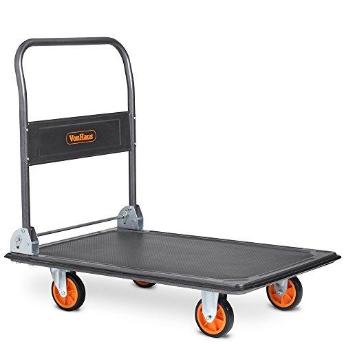 VonHaus 300kg Capacity Platform Truck - Multi-Functional Folding Platform Trolley for Easy Transportation/Heavy Lifting