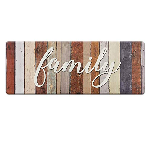 Kitchen Mat 18 x 47 Inch, Family Themed Anti-Fatigue Foam Cushioned Chef Mat Kitchen Rug Waterproof Floor Rugs