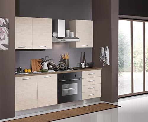 Germanvox Cucina Moderna Completa, Angolo Cottura 195 cm Elettrodomestici Inclusi
