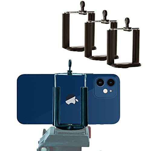 Set of 3 Smartphone and Tripod Mount Adapters for Standard ¼-20 Threaded Screw / Post - Black - 3 Pack