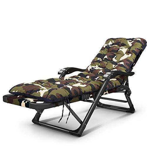 NBVCX Möbel Dekoration Stuhl Lunch Break Stuhl Lazy Back Home Multifunktions-Schlafsofa Sommer Freizeit Beach Chair Composite Oxford (Farbe: Camouflage) (Farbe: Camouflage Cotton Pad)
