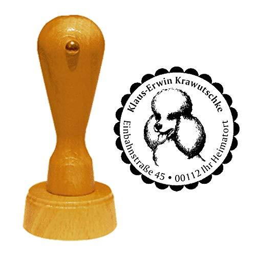 Stempel adresstempel « PUDEL 02 » diameter ca. Ø 40 mm - met persoonlijk adres, motief en sierrand - hond hondenmok Poodle Caniche