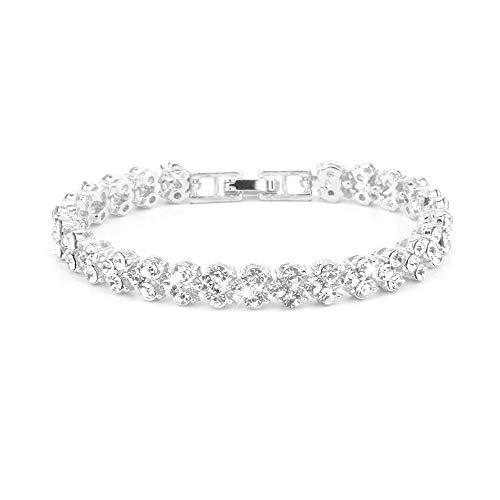 Eljjhah Pulsera de acero inoxidable de Corea para mujer, pulsera de corazón, accesorios de moda, regalos de joyería (longitud: 19 cm, color de la piedra principal: blanco)