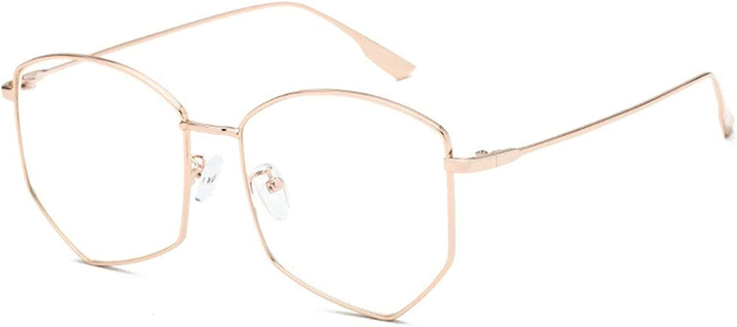 blueee Glasses Frame Metal Flat Lens Men and Women LUE Shading Glasses for Sutdents Office Worker (color   pink gold)