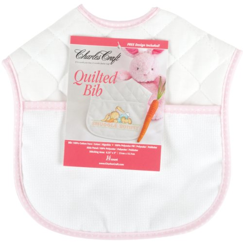 DMC BB4992-5640 Polyester/Cotton 9-Inch Quilted Baby Bib, Pink/White
