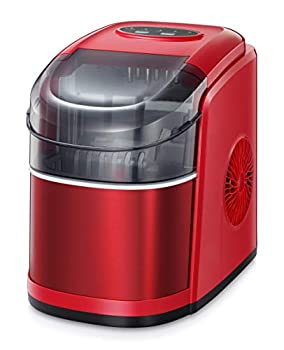 R.W.FLAME Ice Maker Machine for Countertop,Portable Ice Cube Maker with Self-cleaning 26LBS/24H Compact Automatic Ice Makers,9 Cubes Ready in 6-8 Minutes,Perfect for Home/Kitchen/Office/Bar  RED