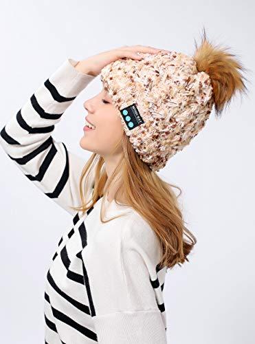 Berretto Bluetooth con Pompon per ASUS Zenfone Max PRO Smartphone con Auricolari Integrati Regolazione Pulsanti Universale Inverno (Beige)