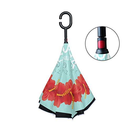 FANTAZIO dubbele laag omgekeerde paraplu's Hawaiian Aloha slinger ontwerp omgekeerde vouwparaplu met C-vormige handvat voor auto's