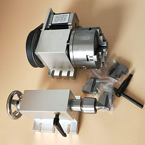 Nema 23 Schrittmotor (6:1) K12–100 mm 4 Backen Bohrfutter 100 mm CNC 4. Achse A Aixs Drehachse + Rückstock für CNC-Router originally no drive
