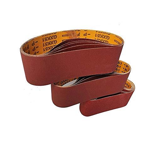 15pièces Bandes Abrasives 75X533MM,utilisées pour le polissage du bois et du métal, grain3X 80/120/150/240/400 /pour ponceuses à bande, Ensemble de Bandes Abrasives-FEIHU