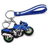 Zliger Llavero Personalizado Lindo Llavero Moto Llaveros de Metal para Mujer Niñas Hombre(Azul)