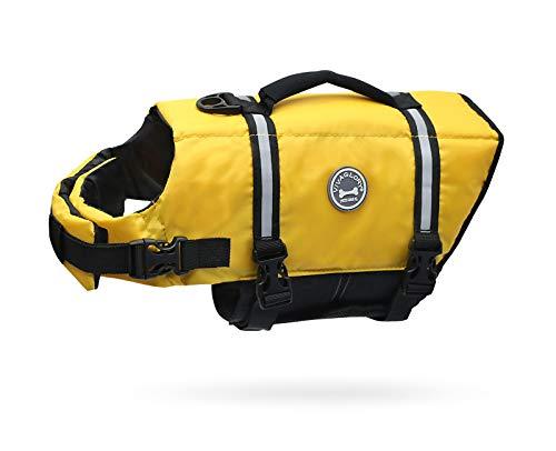 VIVAGLORY Schwimmweste für Hunde Ripstop & Reflektierende, Größenverstellbar mit Starkem Auftrieb und Rettungsgriff zum Schwimmen, Bootfahren und Kanufahren, Gelb, Größe M