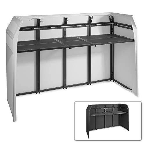 Vonyx DB5 Pro DJ Booth DJ Stand DJ-Pult DJ-Tisch, faltbar, aus Aluminium, inklusive weißer und schwarzer Bespannung, Material Bespannung: Lycra, inklusive Tragetasche, maximale Belastbarkeit: 80 kg