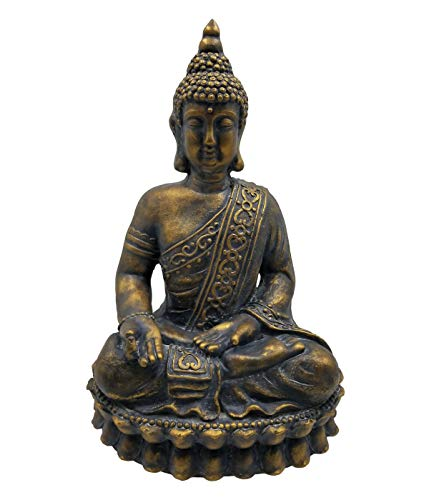 Dehner Dekofigur Buddha, ca. 59 x 34 x 39 cm, Magnesia, braun/gold