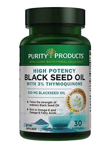 High Potency Black Seed Oil - Double Strength + Cold Pressed - 3% Thymoquinone - 500 mg Black Cumin...