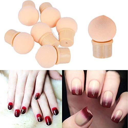 coloré 6 pcs ongles éponge pour ombré dégradé éponge de vernis à ongles réutilisables Nail Art Brosse Applicateur coloré d'impression (Beige) (Beige)