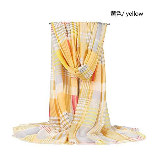 MCZWJ sjaal lente dames plaid sjaal katoen dunne kwast dual use sjaal sjaal vrouwelijke 90 * 180 cm