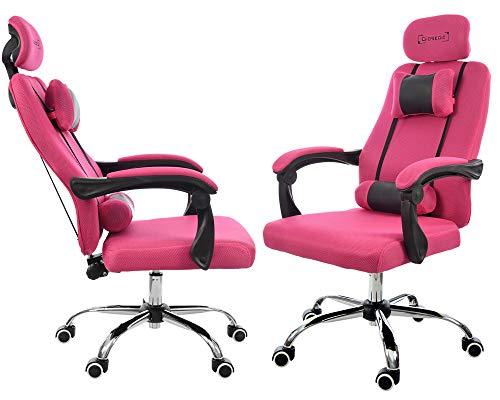 GIOSEDIO Ergonomischer Gaming-Bürostuhl GPX aus Stoff mit Kopfstütze und Verstellbarer Rückenlehne (Rosa)