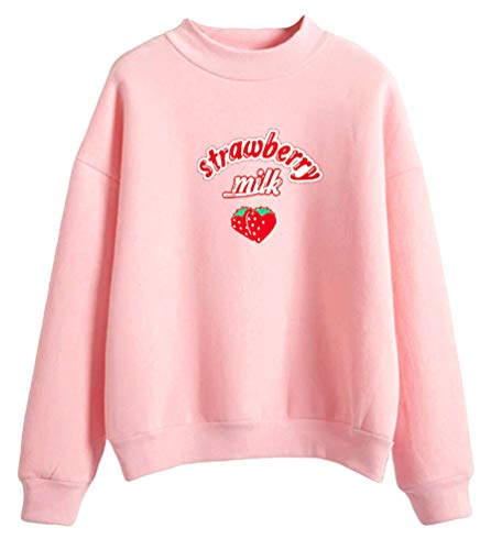 9Yourtime Women's Cute Kawaii Strawberry Milk Pastel Hoodie Kpop Sweatshirts (Pink, M)