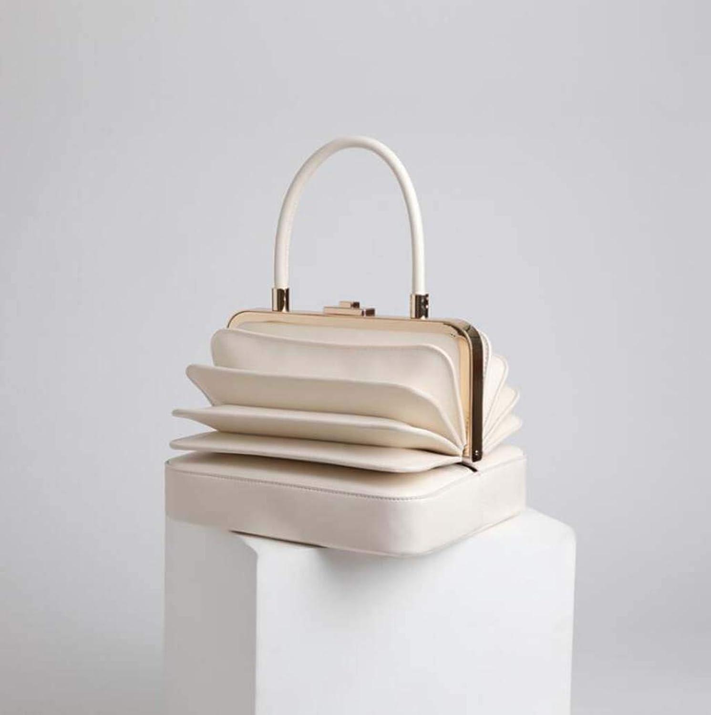Ladies Handbag European and American Style Vintage Organ Leather Handbag (color   Ricewhite)