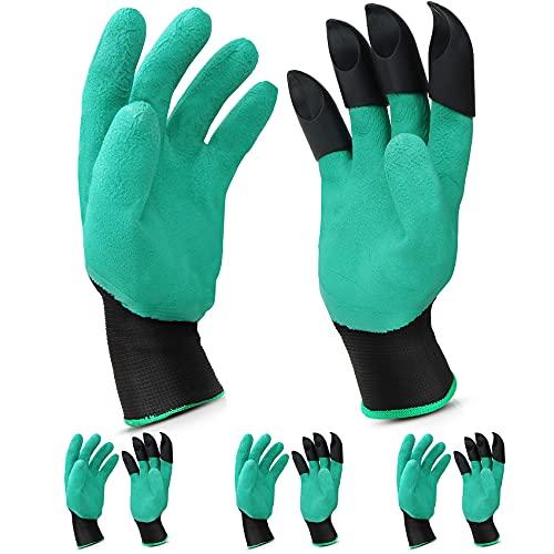 4 Paar Gartenhandschuhe mit Krallen, leicht zu Graben und Gartenhandschuh zu Pflanzen, sicher Harken