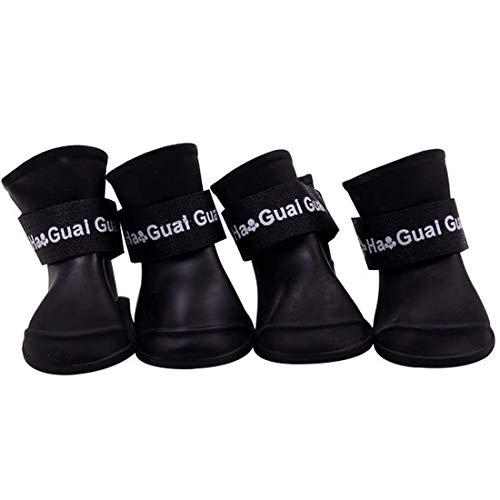 Ducomi Zampette - Zapatillas Impermeables para Perros - Cómodas y Fáciles de Poner - Protegen Las Patas de tu Mascota - Reducen el Riesgo de Infecciones en Caso de Heridas (S, Negro)