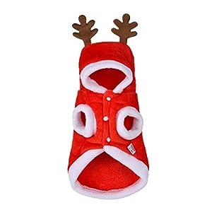 BulzEU Hiver Noël Vêtements Costume Cerf pour Animaux Petits Chiens et Chats