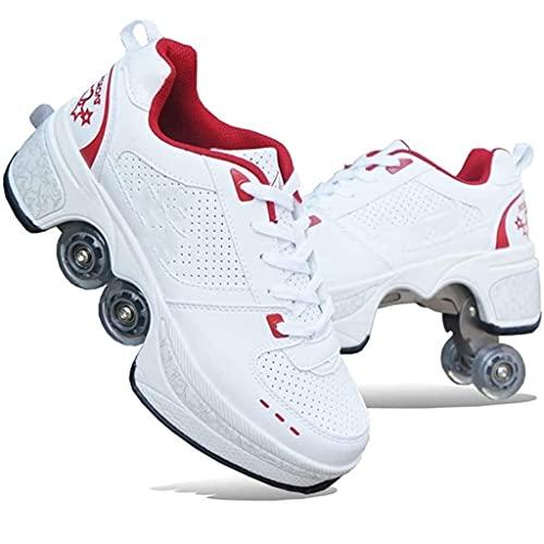 Inline Skate, 2-w-1 wielofunkcyjne buty, regulowane buty do wrotek, buty na rolkach Buty do rolek dla kobiet Mężczyźni, chłopcy Dzieci Buty na kółkach Rolki do butów, dla początkujących Unisex Prezent