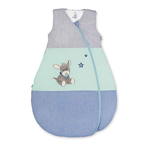 Sterntaler Funktionsschlafsack für Kleinkinder, Esel Emmi, Ganzjährig, Wärmeregulierung, Reißverschluss, 100 cm, Blau/Mehrfarbig