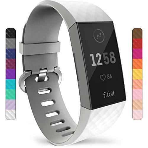 Yousave Accessories Armband Kompatibel mit Fitbit Charge 3 & 4, Silikon Ersatzarmband für Fitbit Charge3 / Charge4 Tracker, Sport Armband, Armbänder Kompatibel mit Fitbit Charge 3 & 4 - Klein - Weiß