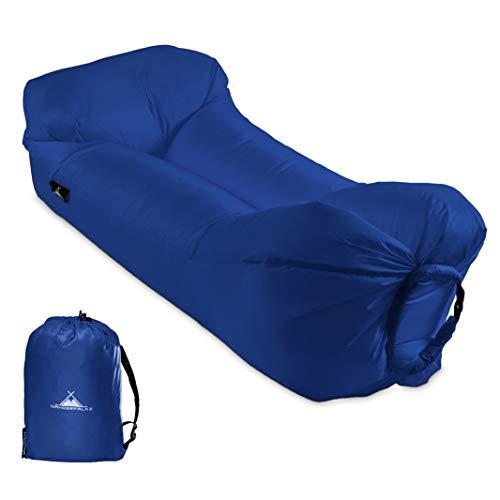 WANDERFALKE Luftsofa aufblasbares Sofa Air Lounger Lazy Bag Luftsack für Outdoor, Camping, Strand, Beach (Deepblue)