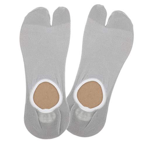 sharprepublic Baumwolle Sneaker Ballerina Socken Unsichtbar Kurzsocken Anti Rutsch Zehensocken Low Cut - Licht Gary