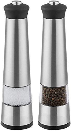 Best Salt and Pepper Grinder Salt and Pepper Mill Set, 2 Pack Stainless Steel, Battery Operated, Ceramic Grinding Blade, Automatic Stainless Steel Grinders Shakers with LED Light and Adjustable