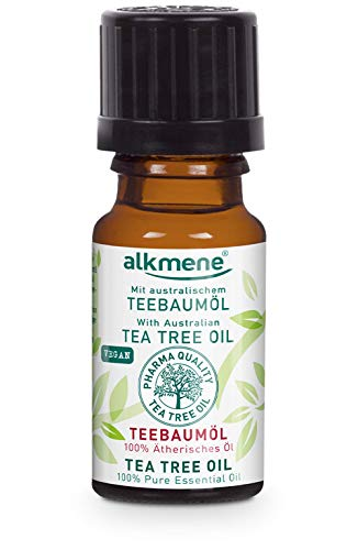 alkmene 100% reines ätherisches Teebaumöl - veganes Teebaum Öl ohne Silikone, Parabene & Mineralöl - australisches Teebaumoel ideal für Haut & Haar - Tea Tree Oil (1x 10 ml)