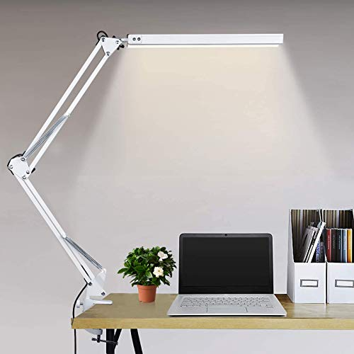 Lampada da Tavolo LED 10W Lampada da Scrivania con Morsetto,3 modalità di colore+10 livelli di luminosità regolabili,Lampada Pieghevole USB per architetti lavoro di lettura in ufficio a casa (bianca)
