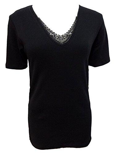 3 t-shirt mezza manica macrame' donna JADEA caldo cotone interlock art. 9202 (4, nero)